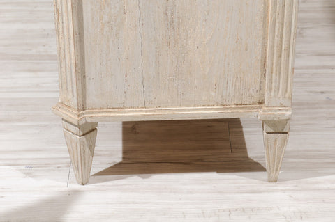 19th Century Painted Commode with Fluted Sides