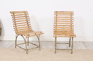 Pair of Wood and Iron Garden Chair