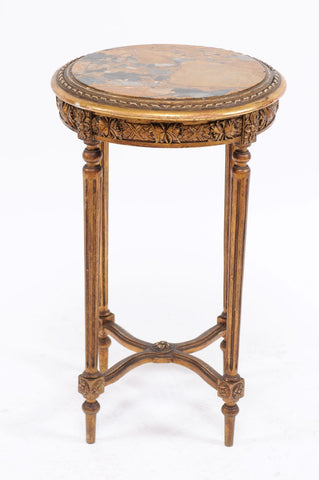 Gilded Gueridon with Marble Top