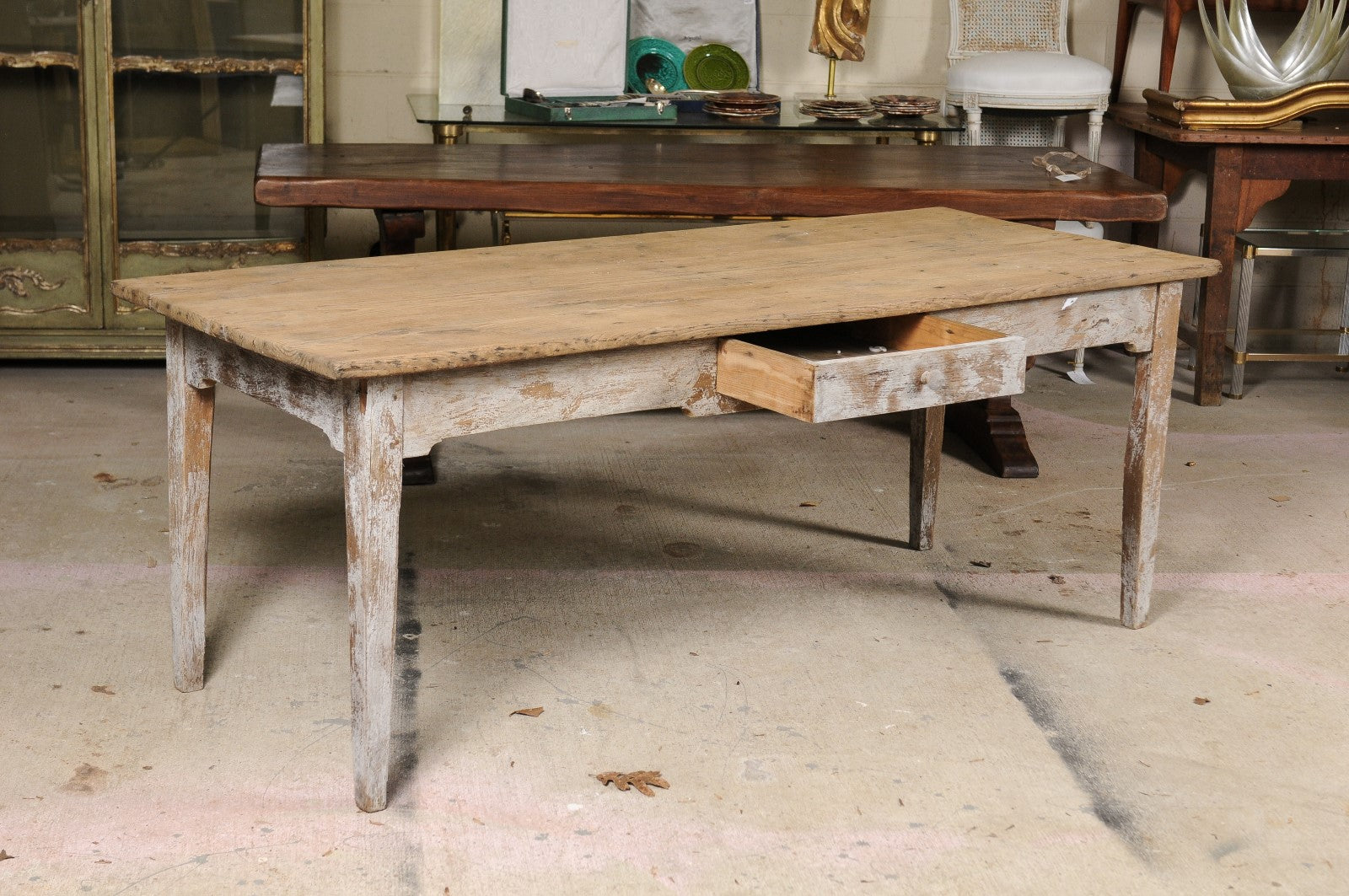 Merveilleux Stripped Oak Table With Drawer