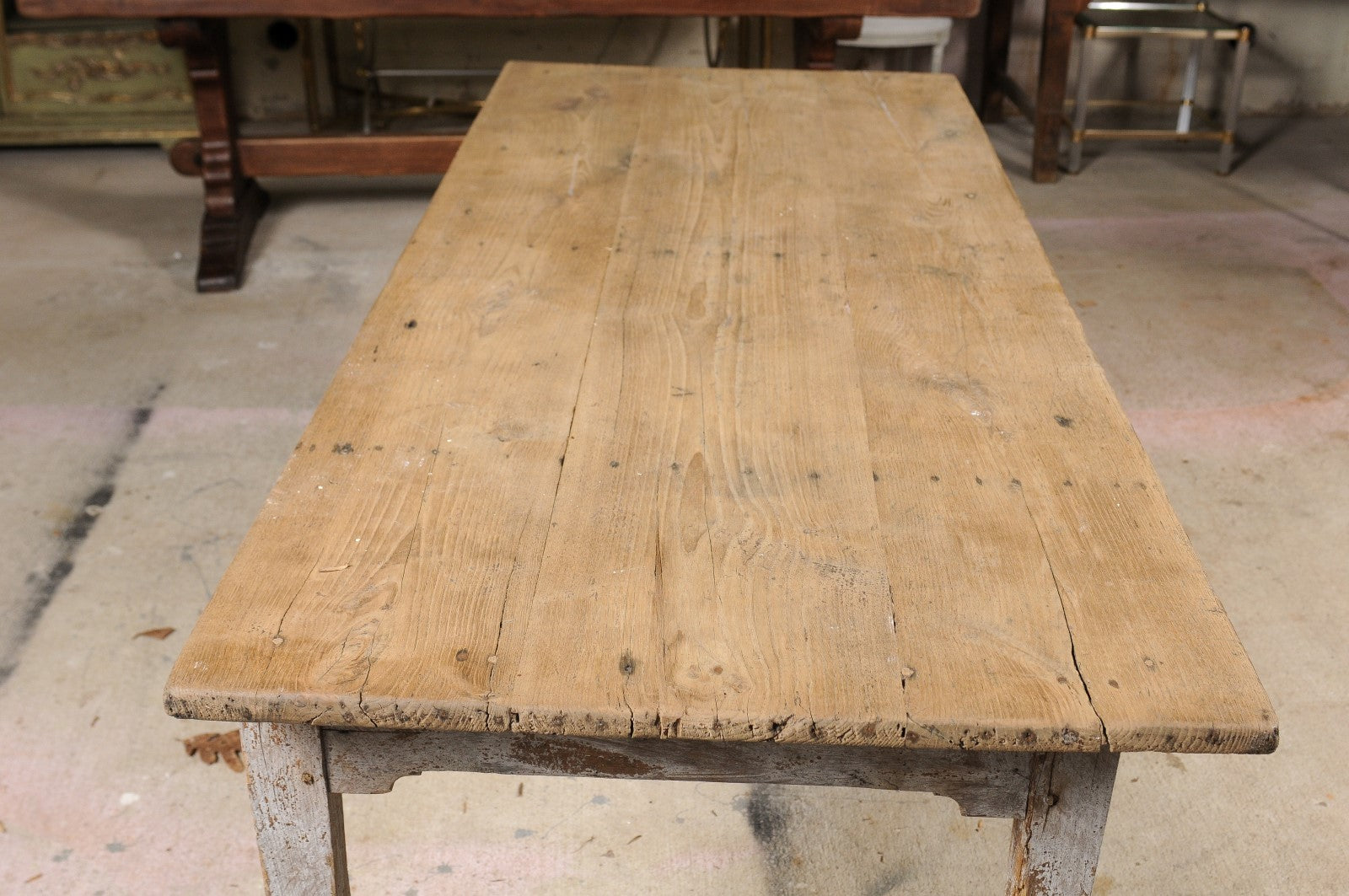 Superbe Stripped Oak Table With Drawer