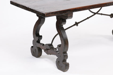 19th Century Monastery Table with Iron Base