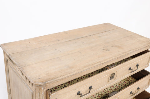 19th Century Louis XVI-Style Stripped Oak Commode