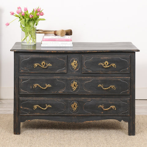 18th Century Painted Black Parisian Louis XIV Commode