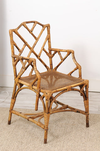 Pair of Mid-Century Modern Chinoiserie Rattan Chairs