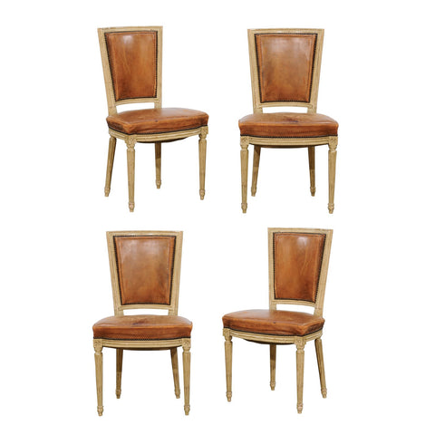 Set of Four French Louis XVI Style Chairs with Leathers Seats, circa 1950