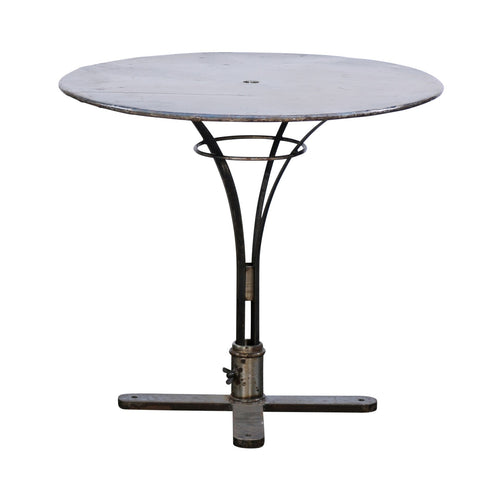 French Vintage Round Iron Bistrot Table from the Loire Valley with Pedestal Base