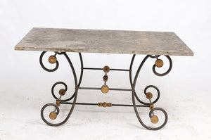 Iron and Brass Butcher Table with Slate Top