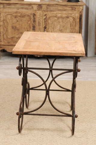 Iron Butcher Table with Wood Top