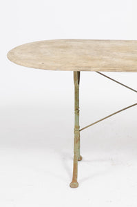 IRON BISTRO TABLE WITH OVAL MARBLE TOP