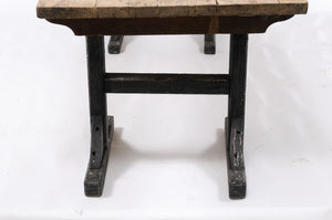 Northern French Long Pine Work Table with Black-Painted Trestle Base, circa 1920