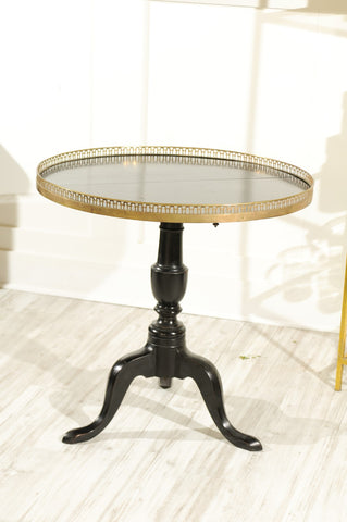 French 1920s Black-Painted Pedestal Tilt-Top Table with Pierced Brass Gallery