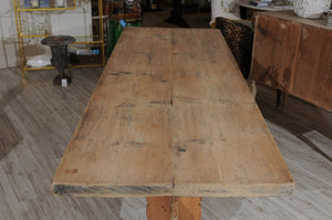 Swedish Stripped Pine Farm Table with Trestle Base from the Late 19th Century