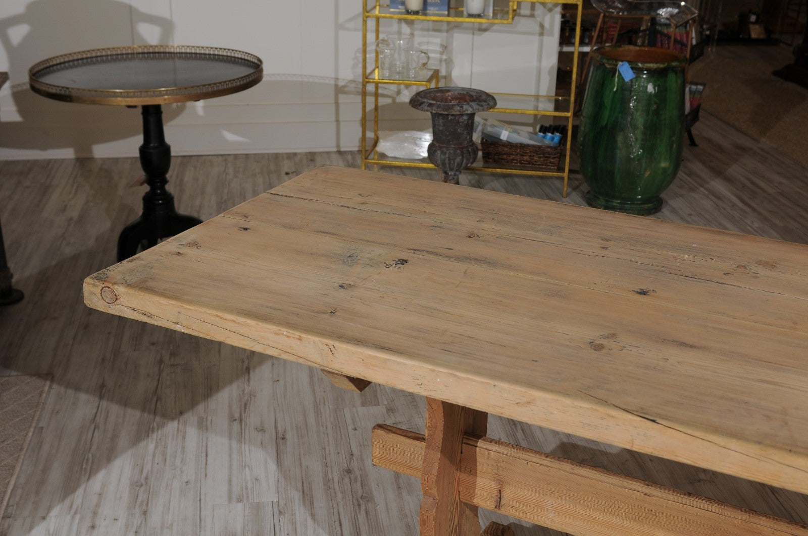 Swedish Stripped Pine Farm Table With Trestle Base From The Late - Farm table trestle base