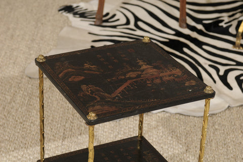 Small Black Chinoiserie Side Table