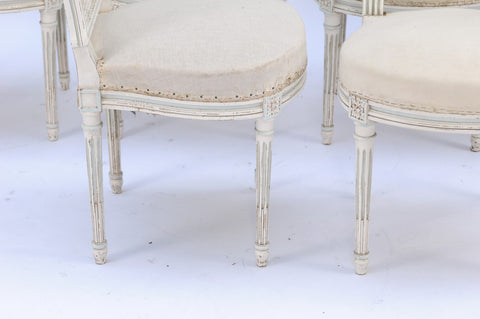 Pair of Northern French Louis XVI Style 1940s Dining Chairs with Cane Backs