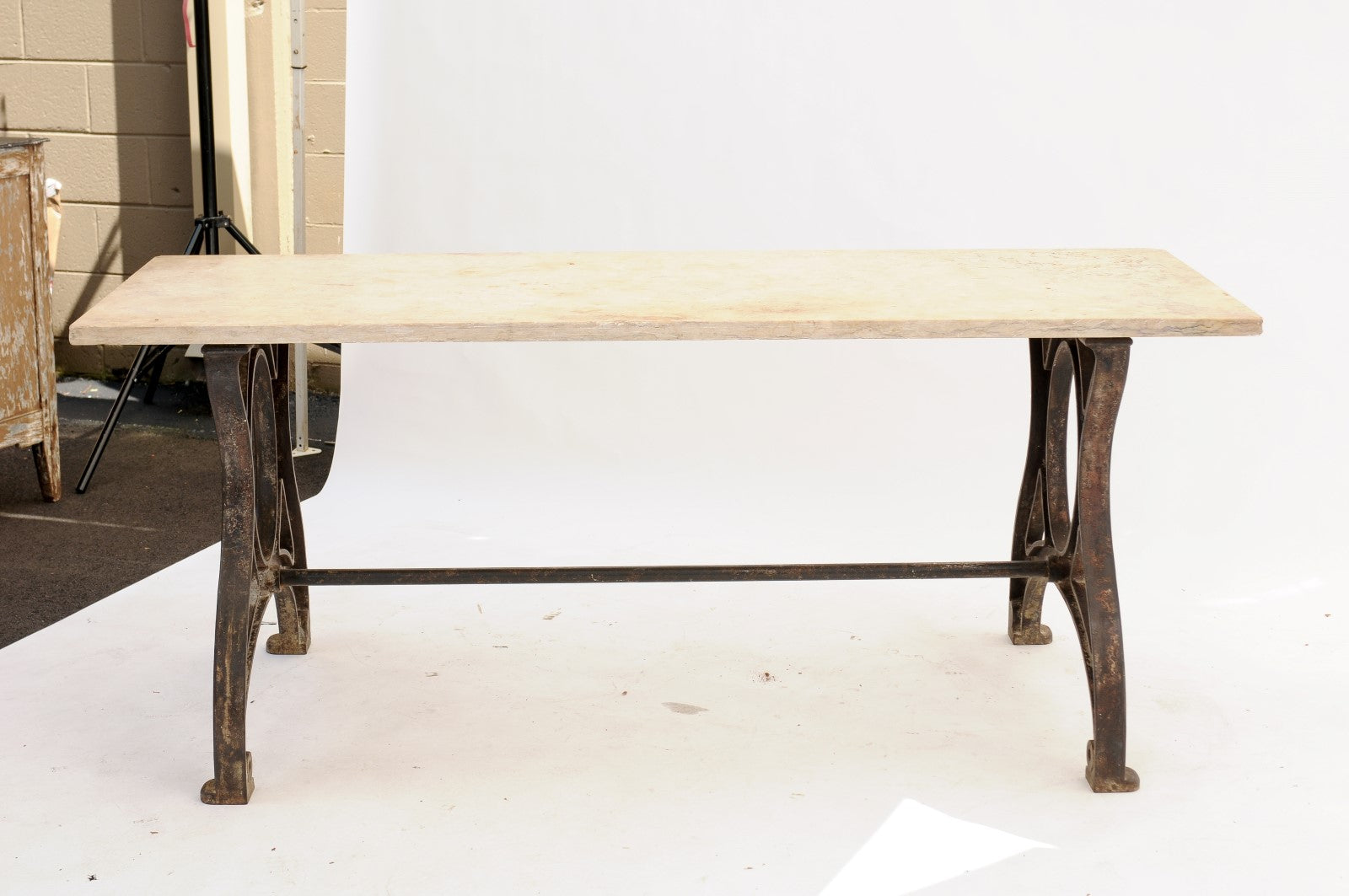 1940s Industrial Southern French Iron And Stone Trestle Dining Room Table