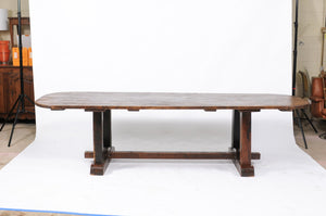 Early 20th Century Oak Trestle Dining Table