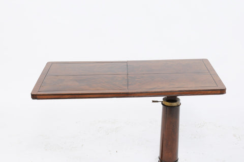 French 1910s Bookmarked Walnut Adjustable Writing Desk with Brass Mechanism
