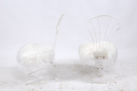 Vintage Italian Midcentury Lucite Chair with Mongolian Fur and Scalloped Back