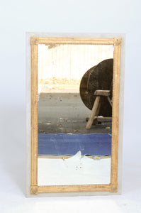 Grey French Painted Mirror with Gold Border