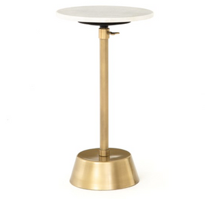 Antique Brass Adjustable End Table