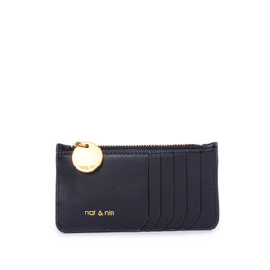 Alix Leather Card Holder Wallet in Black