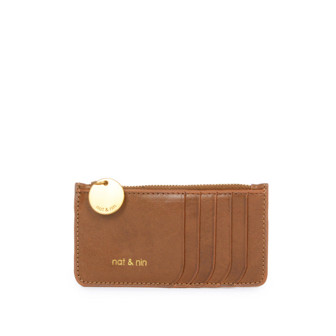 Alix Leather Card Holder Wallet in Caramel