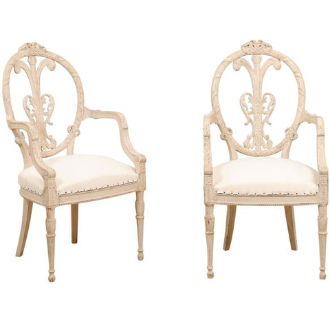 Pair of 19th Century Painted White Armchairs