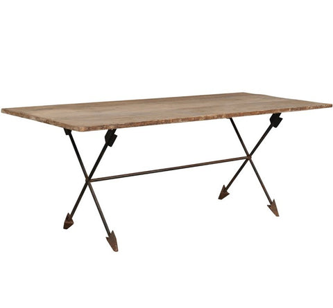 Italian Pine Table with Antique Wrought Iron Legs and Arrow Motif