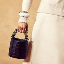 Load image into Gallery viewer, Lizzie Fortunato Florent Bucket Bag in Black Croc