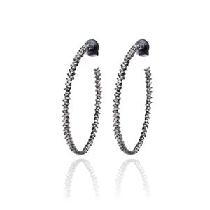 S. Carter Designs Baguette Diamond Hoop Earrings