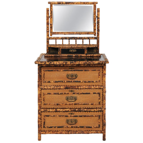1930s French Bamboo And Wicker Four Drawer Commode With Upper Swivel Mirror