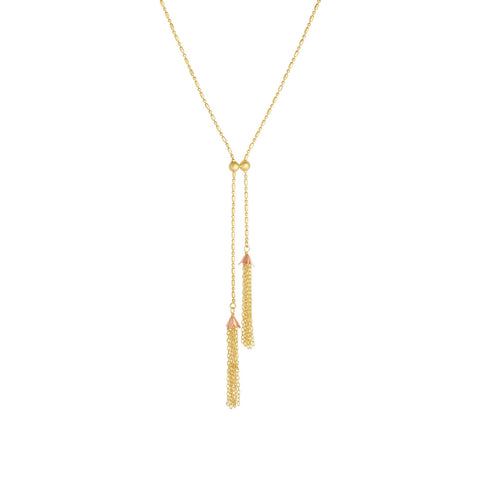 Royal Chain Group Double Tassel Necklace