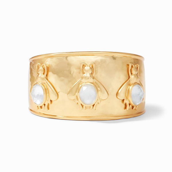 Iridescent Clear Crystal Bee Gold Cuff Bracelet