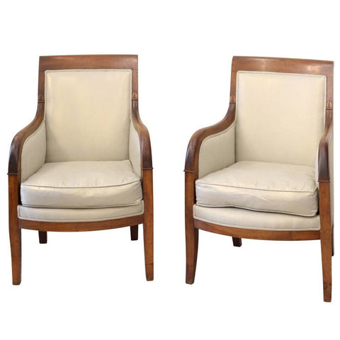 Pair of French 1850s Empire Style Walnut Bergère Armchairs with Linen Upholstery