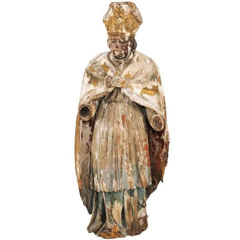 French Carved Bishop Statue