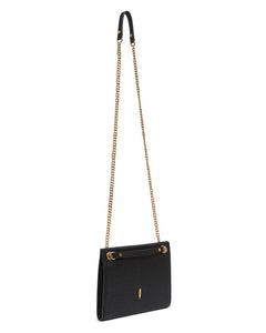 Travel Crossbody Bag in Black Leather