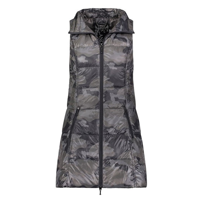 Long Nylon Vest in Black Camo