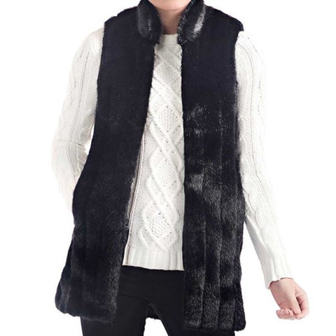 Black Mink Every-Wear Faux Fur Vest