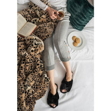 Load image into Gallery viewer, Black Faux Fur Slippers