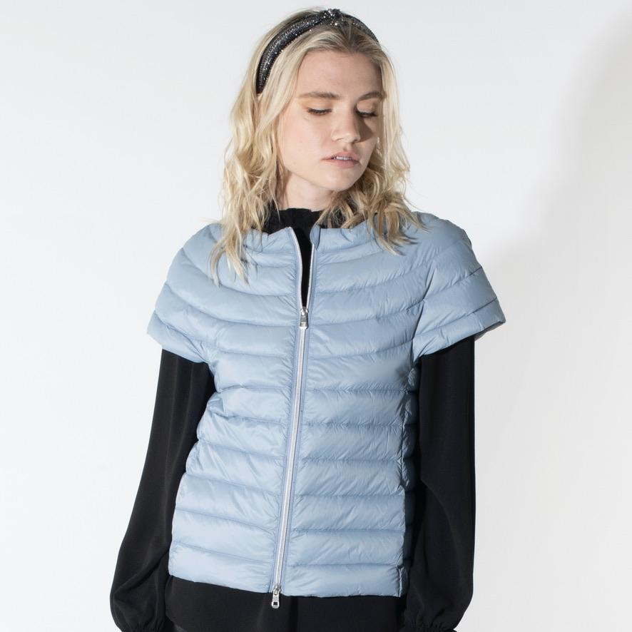 Light Blue Short Sleeve Down Jacket