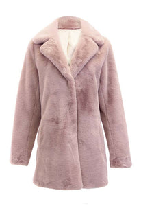 Faux Fur Coat in Blush