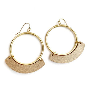 Disco Hoop Earrings Blush Leather