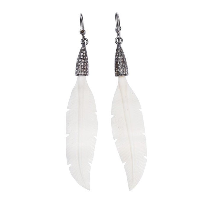 S. Carter Designs White Bone Feather Earrings