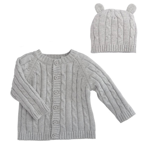 Boxed Cable Sweater and Hat Set