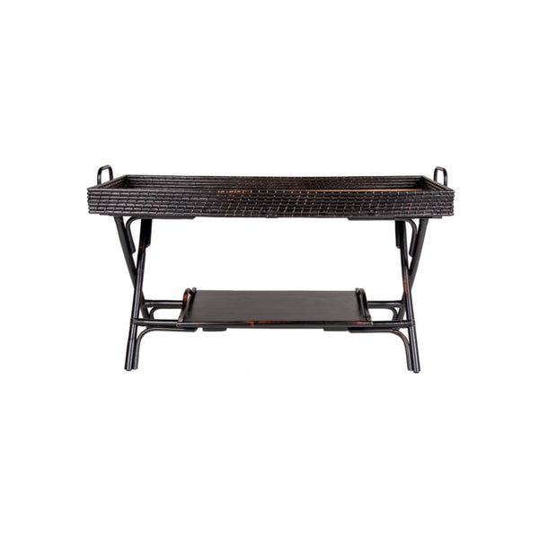 Black Rattan Console Table