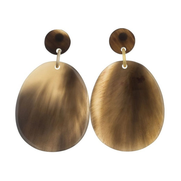 Vivo Buffalo Horn Large Flat Oval Earrings