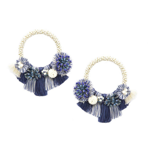 Cartagena Earrings in Blue and White
