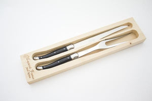 Laguiole Black Carving Set in Wood Box